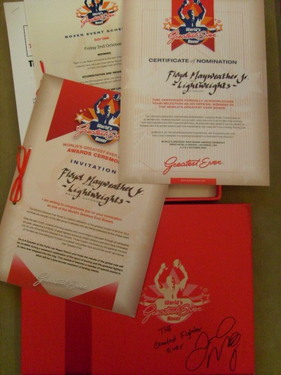 Floyd Mayweather Jr SIGNED And INSCRIBED Personally Owned Certificate Of Nomination For Worlds Greatest Ever Boxer Invitation Gift Set