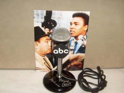 Muhammad Ali And Howard Cosell Unique And Renowned Fighter And Reporter Special Playful Relationship DUAL SIGNED ABC Microphone