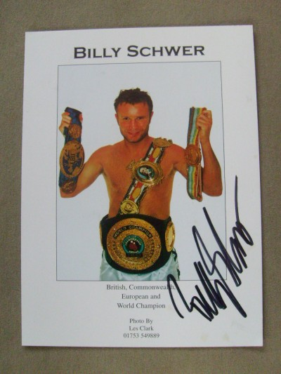 Billy Schwer Former British And Commonwealth And European Lightweight And The IBO World Light Welterweight Title Champion SIGNED Promotional Photo