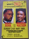 Nigel Benn vs Michael Watson Commonwealth Middleweight Title Official Onsite Poster