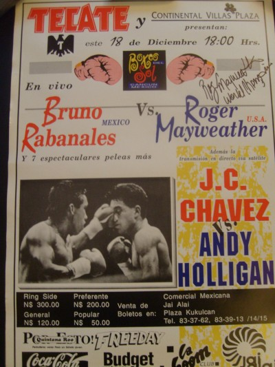 Roger Mayweather vs Bruno Rabanales Official Onsite Poster SIGNED by Roger Mayweather