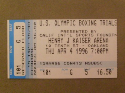 1996 US Olympic Team Trials RARE Official Onsite Full Ticket Featuring Floyd Mayweather Jr Participating In The 125 Pounds Weight Category