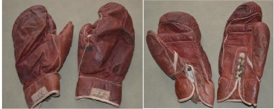 Homer Smith FIGHT WORN Gloves From His 1924 Ten Round Contest Against Future Heavyweight World Champion Jack Sharkey