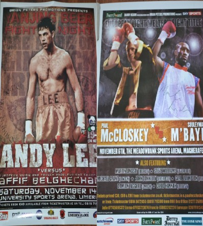 2 Sided Poster Featuring Andy Lee vs Affif Belghecham And Paul McCloskey vs Daniel Rasilla Also Featuring Carl Frampton And SIGNED By Martin Lindsay