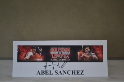 Abel Sanchez Trainer Of Gennady Golovkin SIGNED Final Press Conference Name Card Prior To GGGs Fight Against David Lemieux