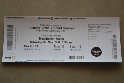 Anthony Crolla vs Ismael Barroso WBA Lightweight World Title Official Full Onsite Ticket