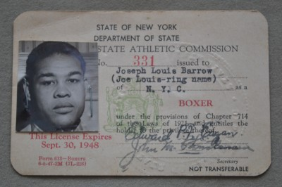 Joe Louis American War Hero And Former Legendary Heavyweight World Champion ORIGINAL 1940s New York  State Athletic Commission Boxing License