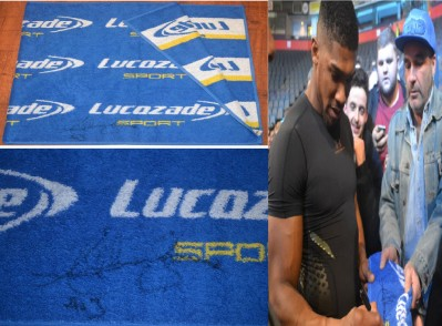Anthony Joshua SIGNED Manchester Workout Training Session Towel USED In Preparation For His IBF World Heavyweight Title Defence Against Eric Molina