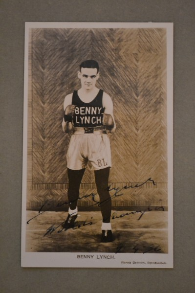 Benny Lynch SIGNED And INSCRIBED Also DATED Photo Postcard Upon Becoming World Flyweight Champion