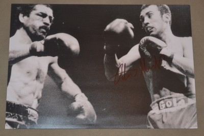 Alan Minter SIGNED Action Shot Photo Defending And Winning His WBC And WBA Middleweight World Titles In His Rematch Against Vito Antuofermo