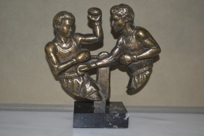 Pre 1930s Amateur Boxing Statuette Replicating Combative Fight Scene Sculptured In Bronze And Set Upon A Marble Plinth