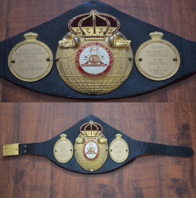 Donald Curry Previously OWNED Original WBA Welterweight Championship Belt Vacated By Sugar Ray Leonard And Won By Curry Defeating Jun Sok Hwank 1983