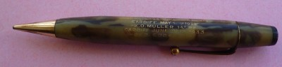 Jack Petersen Souvenir Propelling Pencil Commemorating Consecutive Winning Fights At Ninian Park Against Hein Mueller And George Cook 1933