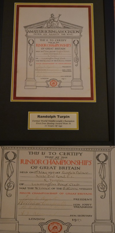 15 Year Old Randolph Turpins First Ever Boxing Award ORIGINAL 1943 ABA Junior Championships 8st Winners Certificate Representing Leamington Boys Club