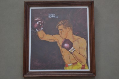 DASHING BASHING CRASHING Terry Downes THE PADDINGTON EXPRESS Former 1961 to 62 Middleweight World Champion Original Framed Painting
