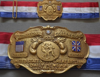 USA vs GB Golden Gloves Heavyweight Diamond Belt Won By Hugh Pat Floyd In 1935 When Jack Dempsey And Gene Tunney Advised Him To Turn Professional