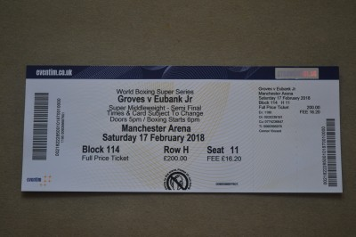George Groves vs Chris Eubank Jr World Boxing Super Series Super Middleweight Semi Final Official Onsite Ticket