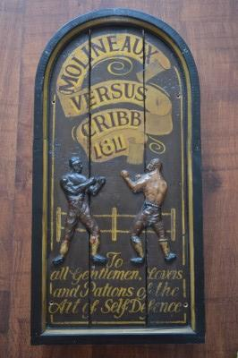 Antique Arched Wooden Panel Commemorating The Famous 1811 Rematch Between  Bare Knuckle Protagonists Tom Cribb vs Tom Molineaux