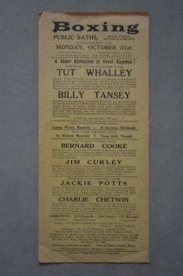 Billy Tansey of Manchester vs Billy Nash of London  Also Featuring Bernard Cooke of Manchester vs Jim Curley of Sheffield Official Onsite 1938 Poster