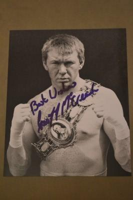 Geoff McCreesh Former 1997 to 1999 British Welterweight Champion SIGNED Boxing Pose Photo With The Coveted Lonsdale Belt