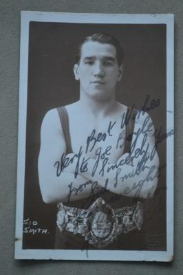 Sid Smith Former World Champion And First Officially Recognized British Flyweight Champion 1911 And Lonsdale Belt Holder SIGNED And INSCRIBED Postcard
