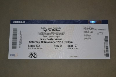 Oleksandr Usyk vs Tony Bellew Undisputed Cruiserweight Championship Of The World Official Onsite Ticket