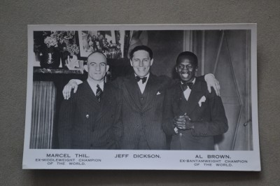 Vintage Original 1930s Postcard Of Middleweight And Bantamweight World Champions Marcel Thil And Panama Al Brown Alongside Promoter Jeff Dickson