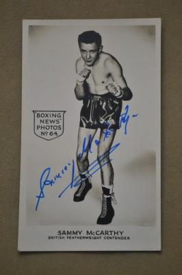 Sammy McCarthy Former British Featherweight Champion 1954 to 1955 SIGNED Boxing News Collectors Photo