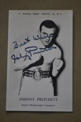Johnny Pritchett Former British And Commonwealth Middleweight Champion SIGNED And INSCRIBED Boxing News Collectors Photo