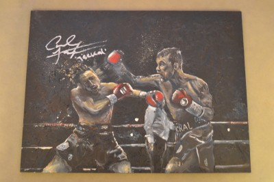 Carl Frampton ORIGINAL Action Scene Oil Painting Depicting The Jackal Landing A KO Punch Also SIGNED And INSCRIBED By The Belfast 2 Weight World Champ