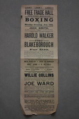 Harold Walker vs Fred Blakeborough 20 Round Bantamweight Contest With 6oz Gloves And Winner To Receive 110 Pounds ORIGINAL 1914 Handbill