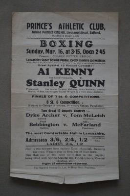 Al Kenny vs Stanley Quinn And Dyke Archer vs Tom McLeish Plus Fred Bebbington vs Alex McFarland Vintage 1930 Original Handbill