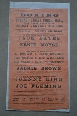 Jackie Brown And Johnny King Early Career Flyer Headlined By Collyhurst Trainer Jack Bates Who Would Guide His Proteges To World And British Titles