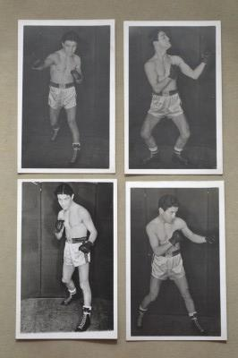 Photo Quartet Of Boxing Poses From The Family Albums Of Blackpools Former 2x British Featherweight Champion Ronnie Clayton