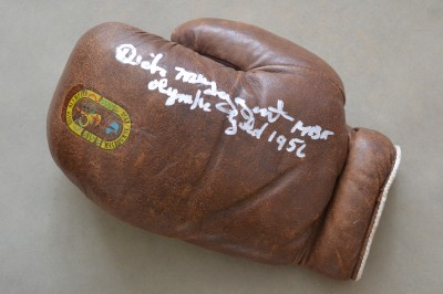 Melbourne 1956 Olympics Commemorative Glove SIGNED And INSCRIBED By Lightweight Gold Medallist And Winner Of The Val Barker Trophy Dick McTaggart
