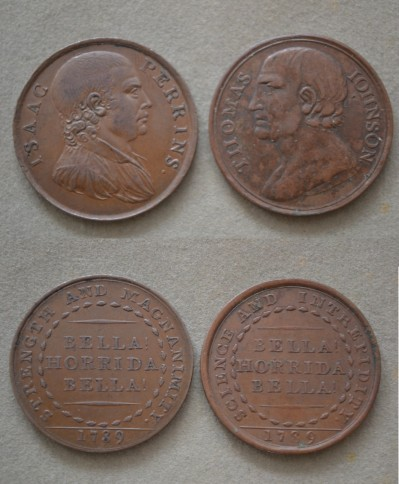 Tom Johnson vs Isaac Perrins RARE Pairing Of Copper Coins Struck To Commemorate Their Brutal 62 Round Epic Battle Of 1789
