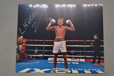 Lee McGregor Undefeated British And Commonwealth Bantamweight Champion SIGNED Victory Celebration Photo