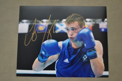 Josh Taylor Unified Light Welterweight World Champion SIGNED Amateur Action Shot Photo Winning Commonwealth Games Gold Medal Glasgow 2014