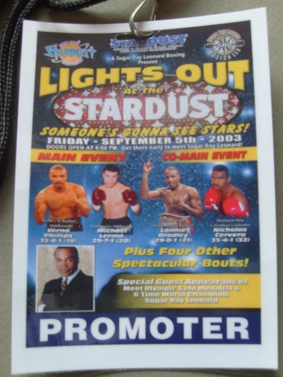 Sugar Ray Leonard Worn Promoter Credential