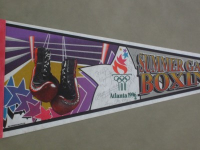 RARE Floyd Mayweather Jr And Tarver Plus Reid And Other 1996 Atlanta USA Olympians SIGNED Official Onsite Pennant